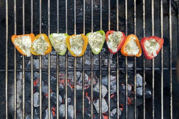 Recette-Poivrons farcis au champ sur barse au barbecue