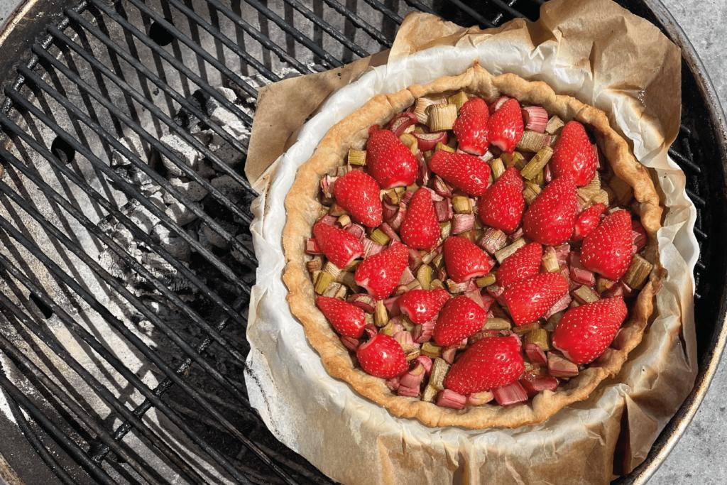Recette - Barbecue - Tarte fraises et rhubarbe