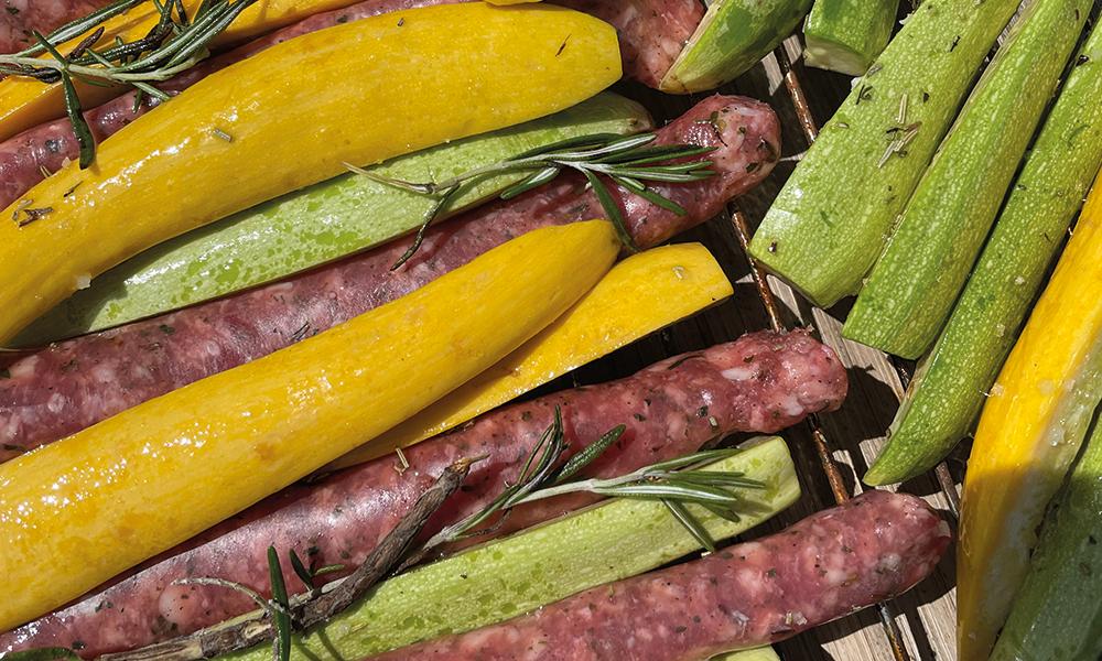 Soler - Recette - Barbecue - Tian courgettes saucisses